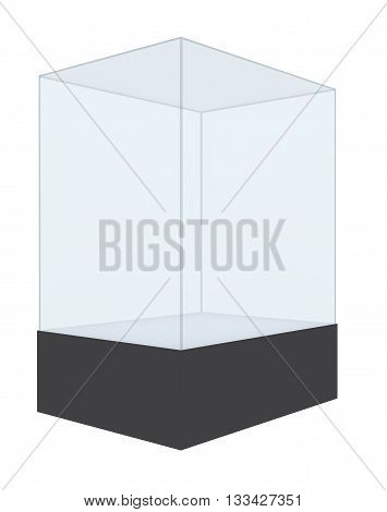 Empty glass showcase isolated on white background, 3D rendering