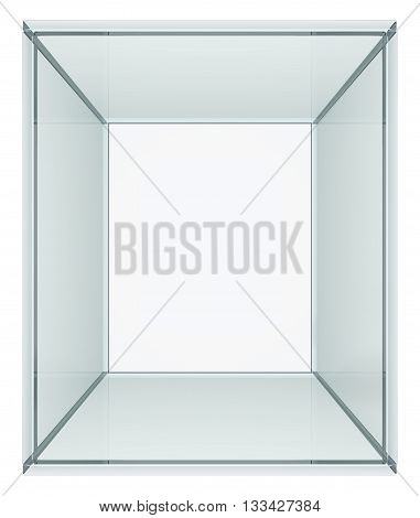 Empty glass cube. Isolated on white. 3D illustration