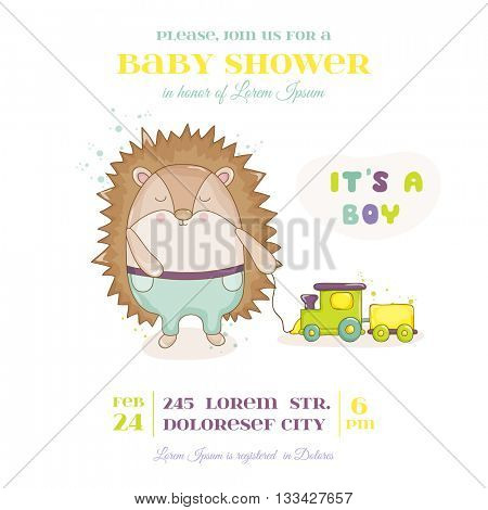 Baby Shower or Arrival Card - Baby Hedgehog with Train Toy- in vector