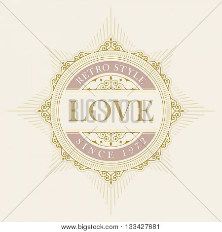 Vector luxury elegant frame ornament line logo design. Monogram emblem template. Ideal for restaurant, hotel, jewelry, boutique, cafe, heraldic,  fashion or royal sign.