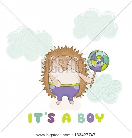 Baby Hedgehog - for Baby Shower or Baby Arrival Cards - in vector