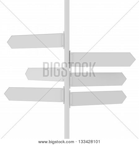 Direction signs x 6. Blank Direction signs for copy space. 3D rendering