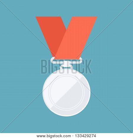 Silver medal. Winner reward. Second place. Flat design vector illustration.
