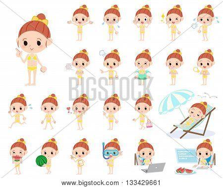 Ribbon Girl Yellow Bikini Swimwear Style