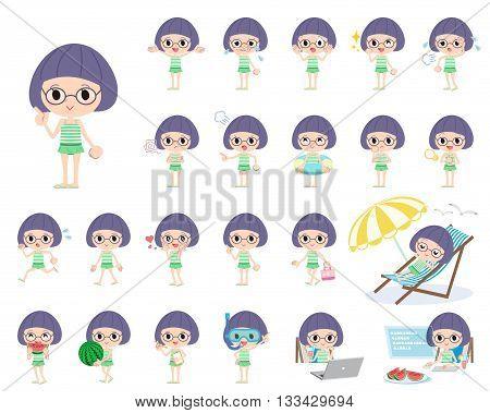 Bobbed Glasses Girl Green Swimwear Style