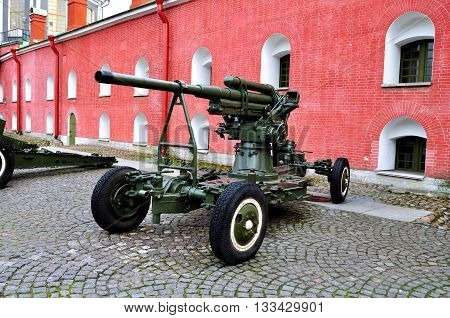 SAINT PETERSBURG RUSSIA - MAY 27 2016. Old artillery guns near the Naryshkin bastion of Peter and Paul fortress