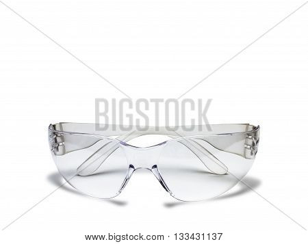 Plastic safety glasses isolated on white background