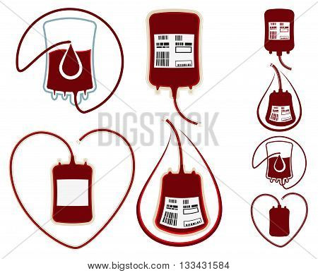 World Blood Donor Day. Set icons. Isolated on white vector illustration