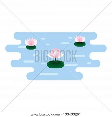 Pink Lotuses at blue water. Small location with pink lotuses icon in pond. Lotus design element. Lotus symbol. Flat vector illustration.