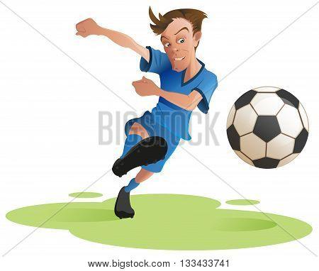 Soccer player kicking ball. Cartoon illustration in vector format