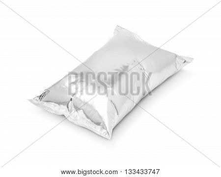 blank packaging aluminum foil snack pouch isolated on white background with clipping path