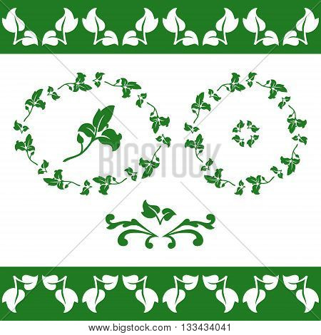 Set of floral elements. Frieze round and oval frames of leaves. Vector illustration.