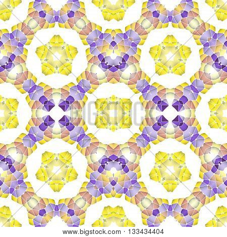 Bright seamless abstract pattern kaleidoscope. Vector design template for art. Purple and yellow