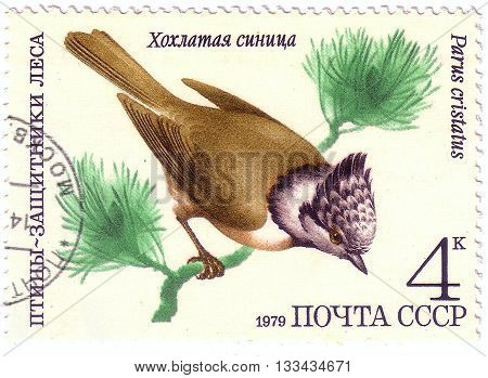 Ussr - Circa 1979: A Stamp Printed In Ussr (russia) Shows A Bird Parus Cristatus With The Inscriptio
