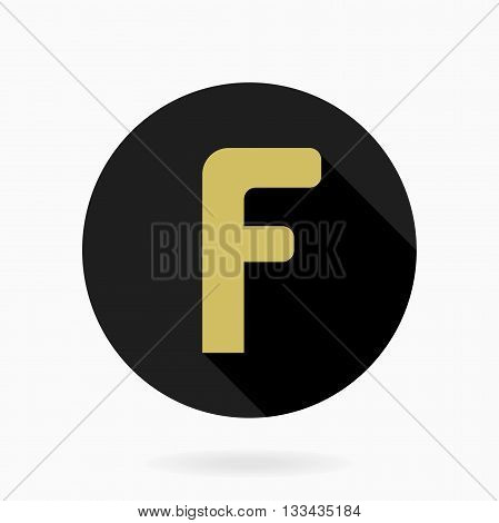 Fine vector golden letter F in the black circle. Flat design and long shadow