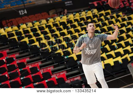 VALENCIA, SPAIN - JUNE 7th: Hernangomez during 3rd playoff match between Valencia Basket and Real Madrid at Fonteta Stadium on June 7, 2016 in Valencia, Spain