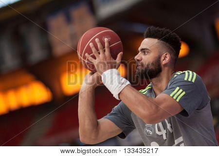 VALENCIA, SPAIN - JUNE 7th: Taylor during 3rd playoff match between Valencia Basket and Real Madrid at Fonteta Stadium on June 7, 2016 in Valencia, Spain