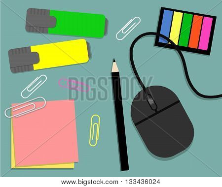 Stationery: markers, stickers, pencil and computer mouse. Vector illustration. It can be used for the websites, registration of magazines, booklets, leaflets