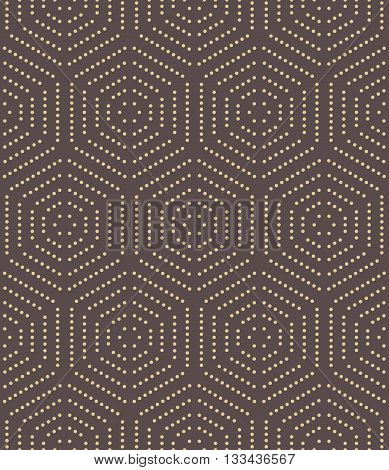 Geometric fine abstract vector hexagonal background. Seamless modern pattern. Brown and giolden pattern