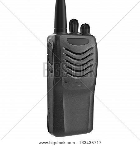 Portable mobile radio black color, close view. 3D graphic