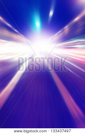 Abstract image of blurred traffic lights in the city.