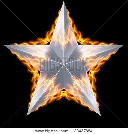 Silver five-pointed star surrounded by fire on black background.