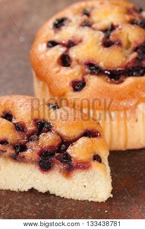 Small charlotte pie with black currant close up shot