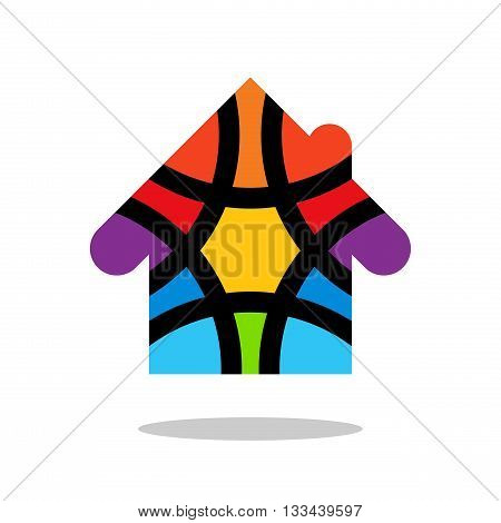Colorful house logo. Colored house logo. House logo design. House design element. Drop shadow. White background