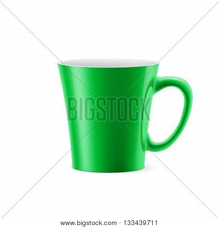 Green cup with tapered bottom stay on white background