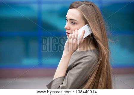 Portrait Of Business Woman Making Call. Copy Space