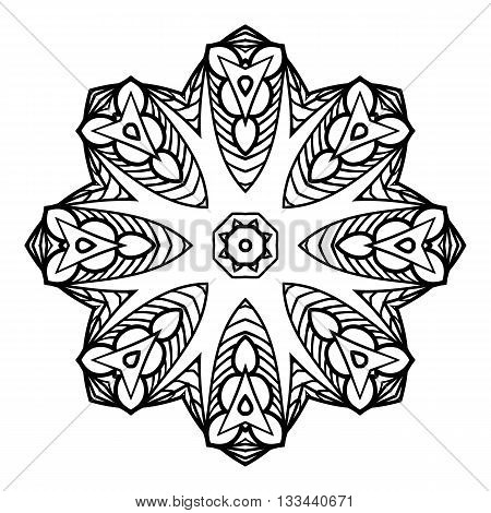 Mandala. Herbal decorative elements. Picture for coloring.
