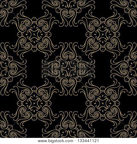 Tints of Black and Gold Seamless pattern, Abstract Seamless pattern, Vector Seamless pattern. Repeating geometric, Seamless floral pattern.