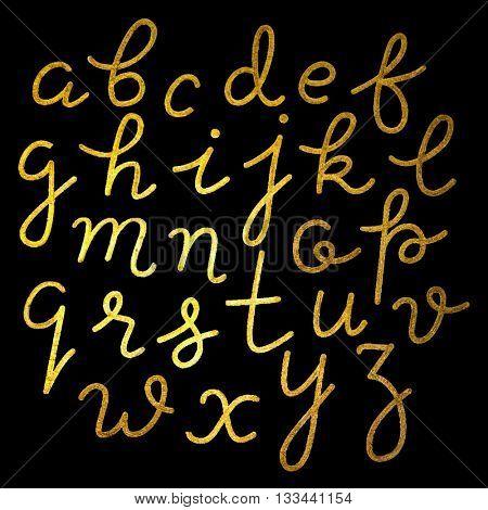 Gold foil hand-drawn alphabet