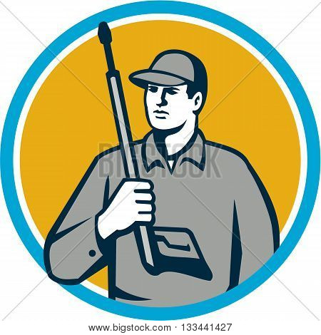 Illustration of power washer worker holding pressure washing gun on shoulder looking to the side viewed from front set inside circle on isolated background done in retro style.