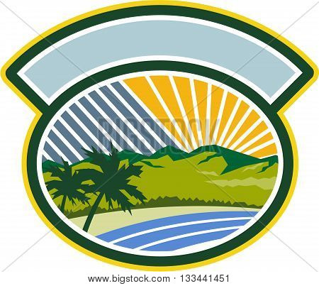 Illustration of tropical trees mountains and sea coast set inside oval shape with sunburst in the background done in retro style.