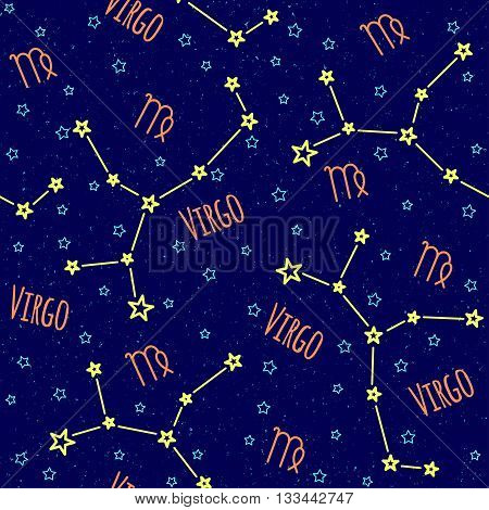 Seamless vector pattern. Background with the image of constellation Virgo zodiac sign on a dark blue background with blue stars. Pattern for design packaging, design brochures, printing on textiles