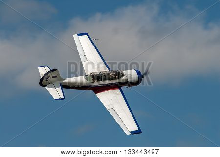 Yalutorovsk, Russia - May 24. 2008: Yak-52 sport plane in air for pilotage technic show