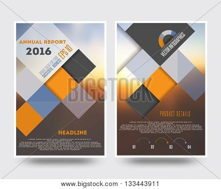 Business brochure flyer design template in A4 size, with blur background
