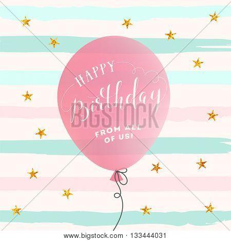 Happy Birthday card. Birthday Background with balloon