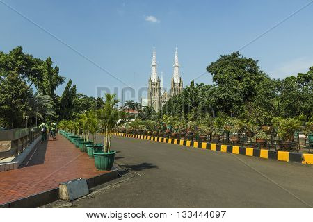 Catholic Cathedral where the seat of the Roman Catholic Archbishop of Jakarta Indonesia