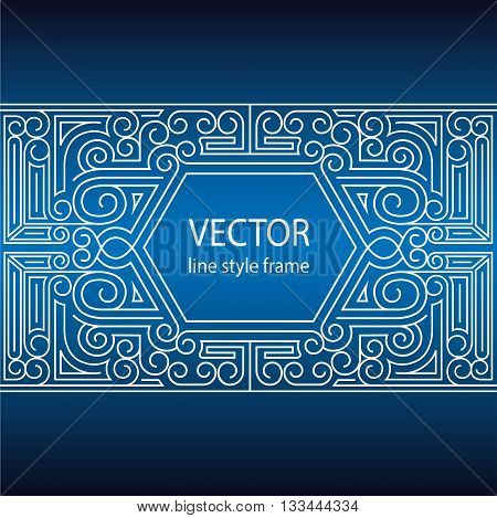 Vector geometric linear style frame - art deco border for text. Sketchbook cover design.