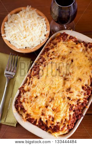 Baked Macaroni Bolognese shot from above vertical view