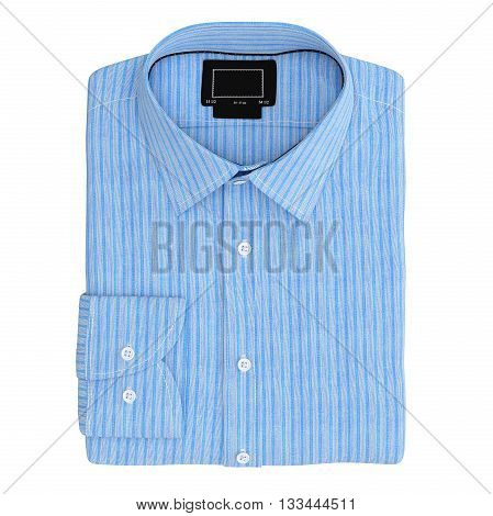 Men's folded stripes shirt color blue, top view. 3D graphic