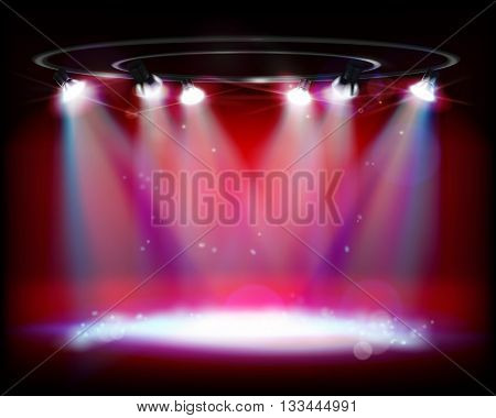 The show on the stage. Vector illustration.