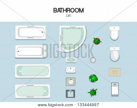 vector set of furniture for the bathroom with bath, sink, toilet, washing machine, trash and mat, top view.