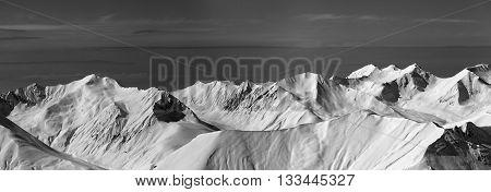 Black and white panoramic view on off-piste slope. Caucasus Mountains Georgia region Gudauri.