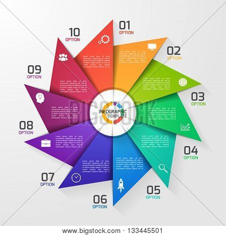Windmill style circle infographic template for graphs charts diagrams. Business education and industry concept with 10 options parts steps processes.