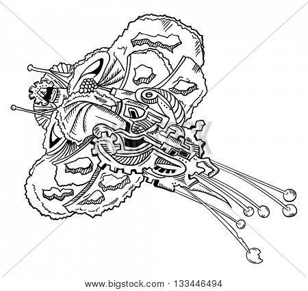 vector - mechanical Butterfly - abstract - isolated on background