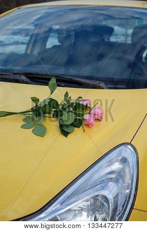 розовые, розы, на капоте, автомобиля, желтого, букет, цветов, фара, лобовое, стекло