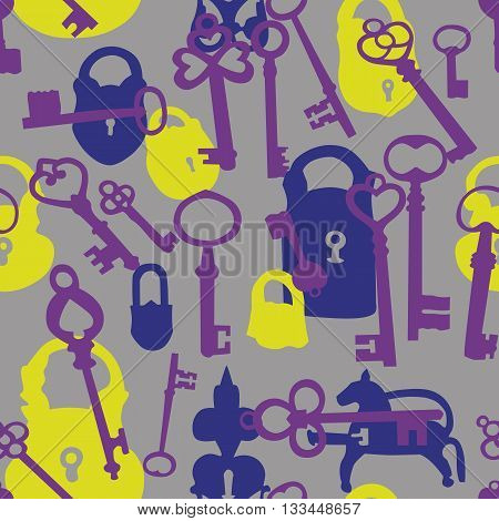 Seamless background made of silhouettes of padlocks and keys